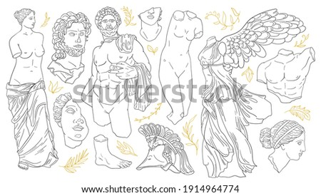 Vector set of antique sculptures. Antique statues Venus, Apollo, Nike, greek statue head and body. Linear icons greek gods, hand drawn mythical sketch collection. Contemporary minimal shapes, isolated