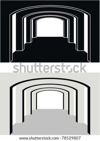 Vector set of architectural element - Colonnade (enfilade) with arch, ancient temple, bridge: contour, silhouette, black and gray isolated illustration, white background