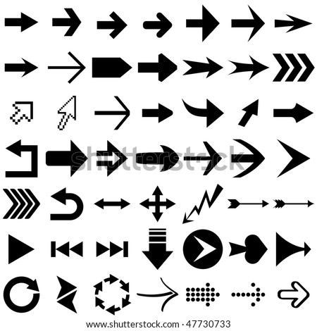 Vector set of arrow shapes  isolated on white. #47730733