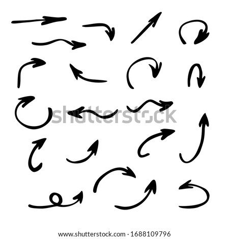 Vector set of arrows pointing in different directions. Hand drawn, doodle elements isolated on white background