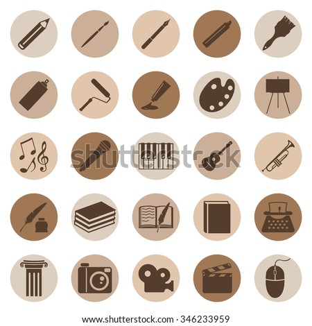 Vector Set of Art Icons. Drawing, Music, Writing and Other.