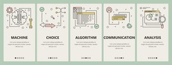 Vector set of artificial intelligence concept banners. Machine, Choice, Algorithm, Communication, Analysis website templates. Modern thin line flat symbols, icons for web, print.