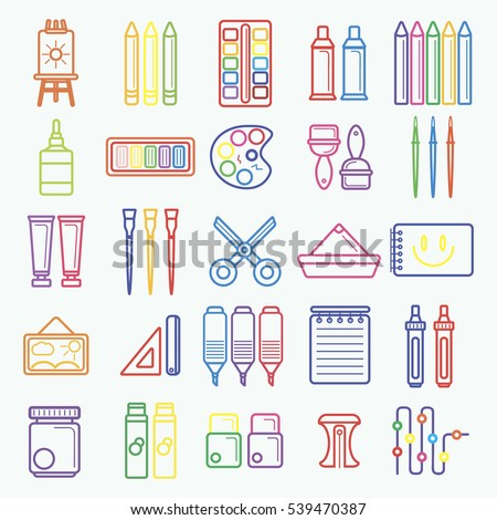 Vector set of artist tools for drawing and painting, craft. Flat color icons with supplies for creative art and design: brush, pencil and palette, pen and paper, tube with watercolor and oil paint.