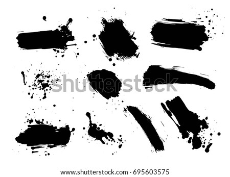 Vector set of artistic ink, watercolor splashes, ink blots. Black splatter collection. Grunge ink splotches. - stock vector
