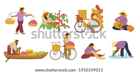 Vector Set Of Asian Women In Conical Straw Hats Working. Carrying Yoke, Harvesting Coffee Beans, Weaving Baskets And Mat, Selling Fruits From a Boat and From Bike, Working On Rice Field.