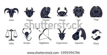 Vector set of astrological symbols, zodiac signs. Mystical symbols.