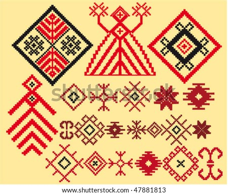 vector set of authentic baltic weaving patterns