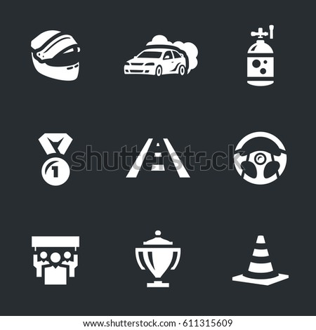 vector set of auto rally icons
