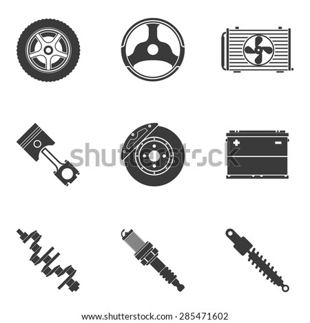 Vector set of auto spare parts. Gear and spark plug, wheel and radiator, accumulator and transmission