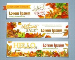 Vector set of autumn banners. Three templates for your design. Various bright fall leaves and hand-lettering. There are places for your text on white area.