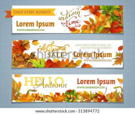 vector set of autumn banners