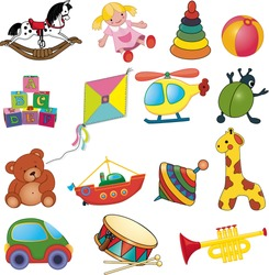 Vector set of baby's toys.
