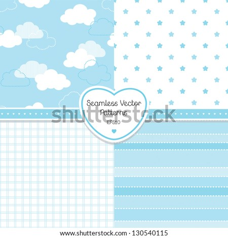 Vector set of 4 background patterns in pale blue. Good for Baby Shower, Birthday, scrapbook, greeting cards, gift wrap, surface textures. See my folio for JPEG versions.