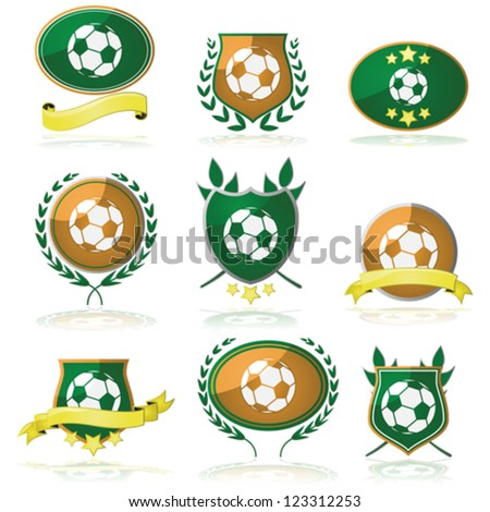 Vector set of badges and seals with a soccer ball inside