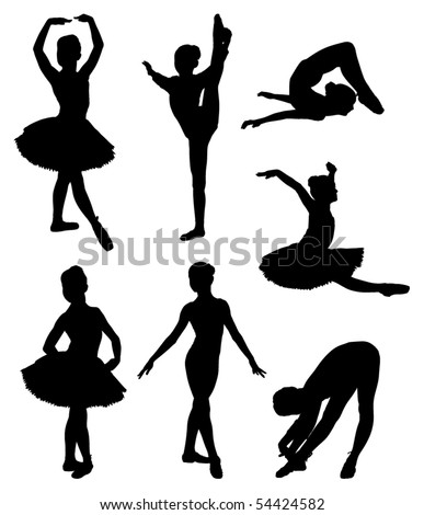Vector set of ballerina silhouettes