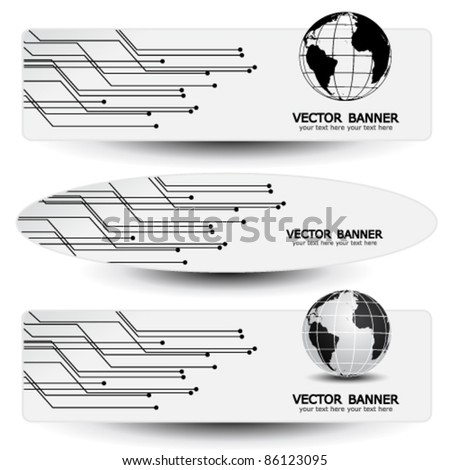 Vector set of banners - technology design