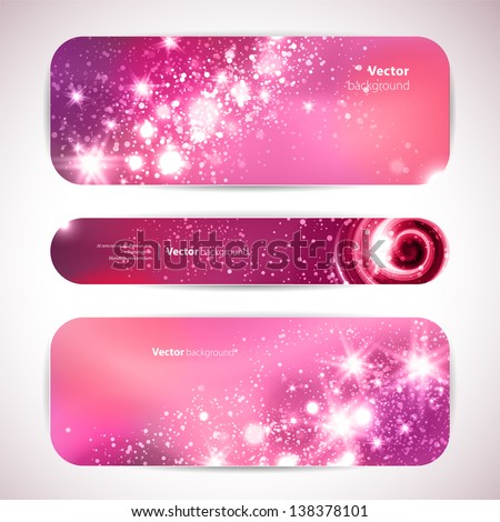 vector set of 3 banners with