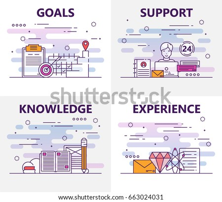 Vector set of banners with goals, support, knowledge, experience concept elements. Thin line flat design symbols and icons for website menu, printing.