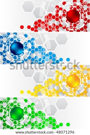 Vector set of banners with hexagon; clip-art