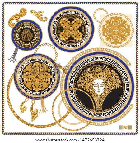 Vector set of Baroque floral scroll elements, golden chains, cables, Greek meander, acanthus leaves and Medusa head for textile border and silk design. Ten pattern brushes in the brush palette