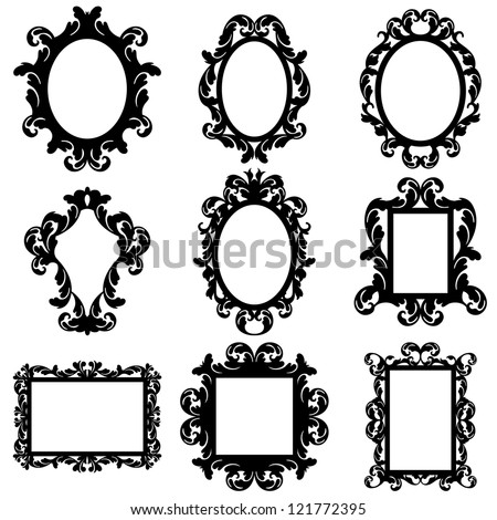 Vector Set of Baroque Frame Silhouettes #121772395