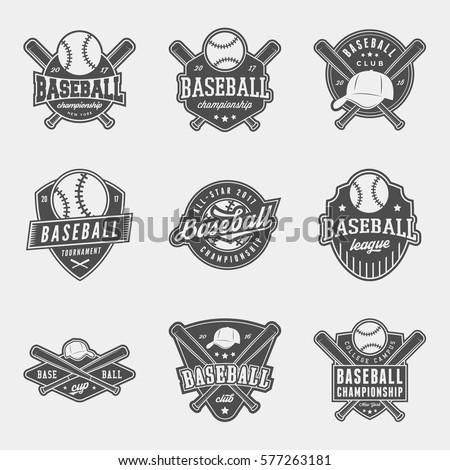 vector set of baseball logos, emblems and design elements.  logotype templates and badges