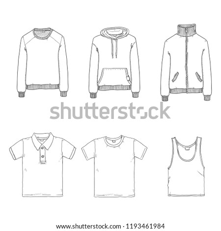 Vector Set of Basic Clothes Items - Sweat Shirt, T-shirt, Polo, Hoody