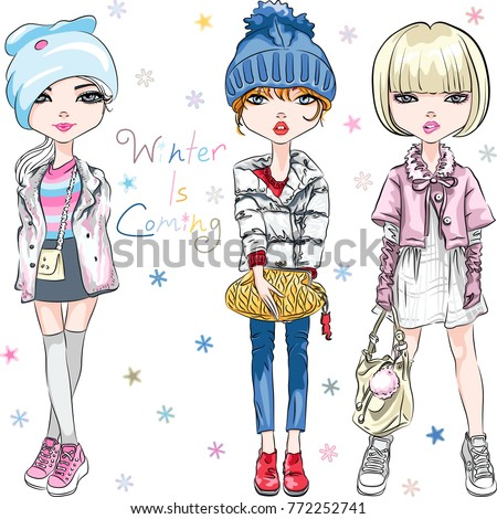 Vector SET of beautiful fashion hipster girl in winter clothes, sneakers, jacket and hat with bags.