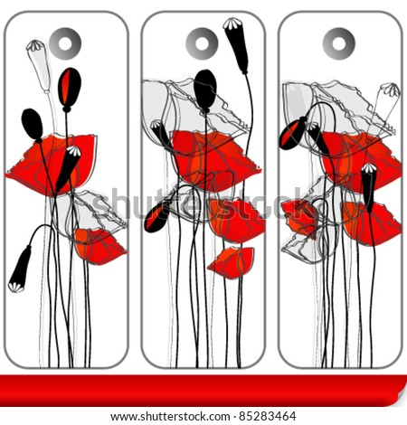 Vector set of beautiful hand drawn style poppies on floral price tags