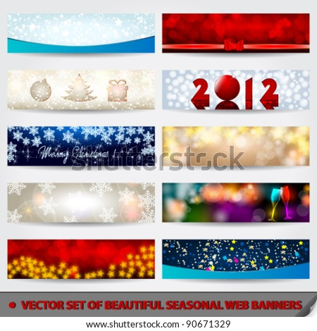 Vector set of beautiful, modern glittering Christmas web banner set illustrations