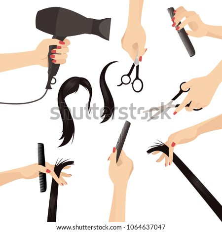 Vector Set of Beautiful Woman Hairdresser Hands in Beauty Salon with Accessories  Design Set Isolated on White
