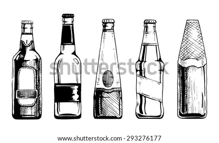 vector set of beer bottles in