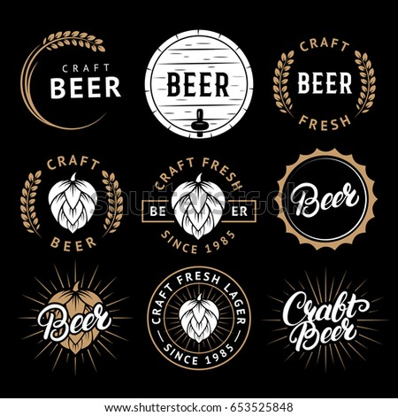 Vector set of beer labels in retro style. Vintage craft beer brewery emblems, logo, stickers and design elements.