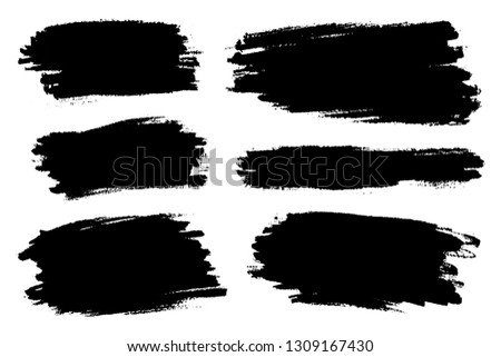 Vector set of big hand drawn brush strokes, stains for backdrops. One color monochrome artistic hand drawn backgrounds. Monochrome design elements set various shapes #1309167430