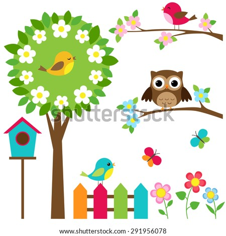 vector set of birds  flowers