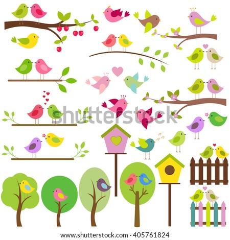 vector set of birds spring