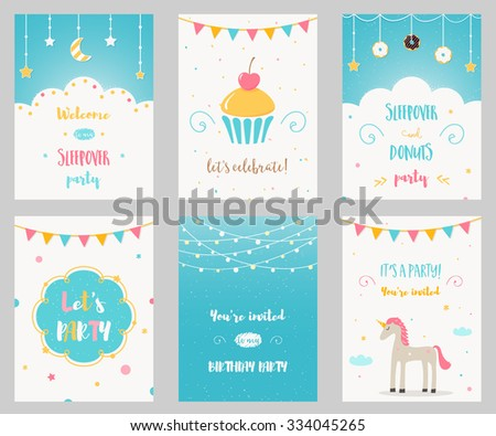 Slumber party vector invitation download free vector art stock vector set of birthday and sleepover kids party invitations stopboris Gallery