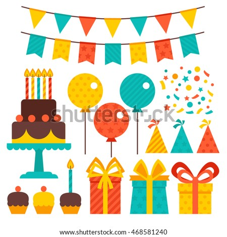 Vector set of birthday party elements. Gifts, cake, garland, and other elements of the party. Birthday concept.