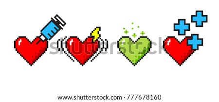 Vector set of 4 8-bit pixel art hearts. Medical concepts of healing, heart stroke, poisoning, good health. Foto stock ©