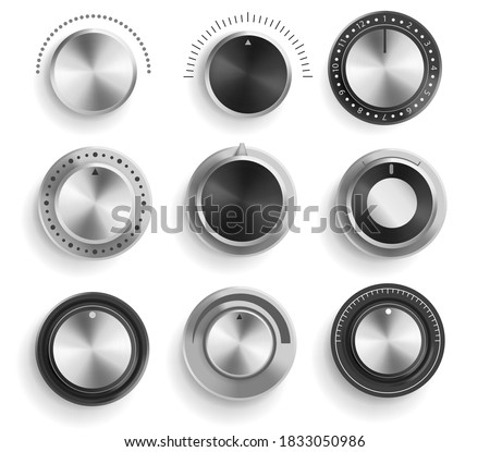 Vector set of black and chrome volume control buttons isolated on white background. Realistic 3d metal sound knobs. Tune and volume round button with scale Photo stock ©