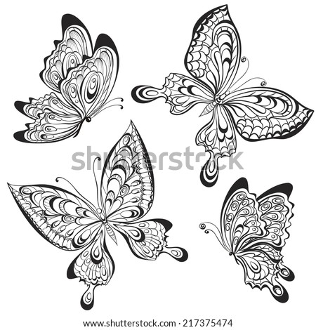vector set of black and white
