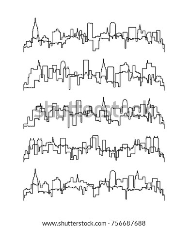 vector set of black and white city or town skyline graphic. thin line contours of buildings. urban outline backgrounds