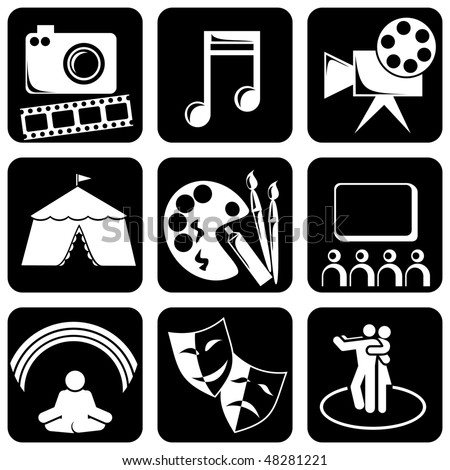 Vector set of black and white icons on the theme of Art