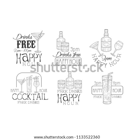 Vector set of black and white logos for cafe or cocktail bar. Hand drawn emblems with bottles and glasses with drinks. Alcoholic beverages - Shutterstock ID 1133522360