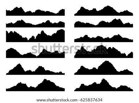 vector set of black and white mountain silhouettes, background border of rocky mountains