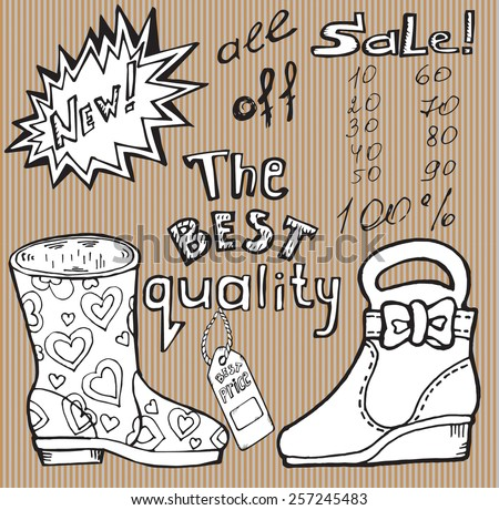 Vector set of black and white objects. Outline of models of shoes, decorative objects, handwritten inscriptions on striped background.