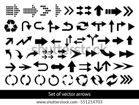 Vector set of black arrows on a white background #551214703