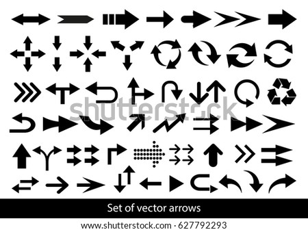 Vector set of black arrows on a white background. #627792293