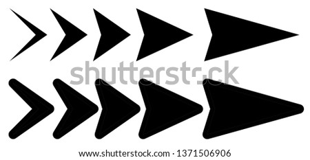 Vector set of black arrows to the right. Arrow pointer icon. Interface collection of arrows #1371506906