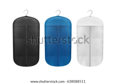 Vector set of black, blue and white storage dust proof covers close up front view isolated on background